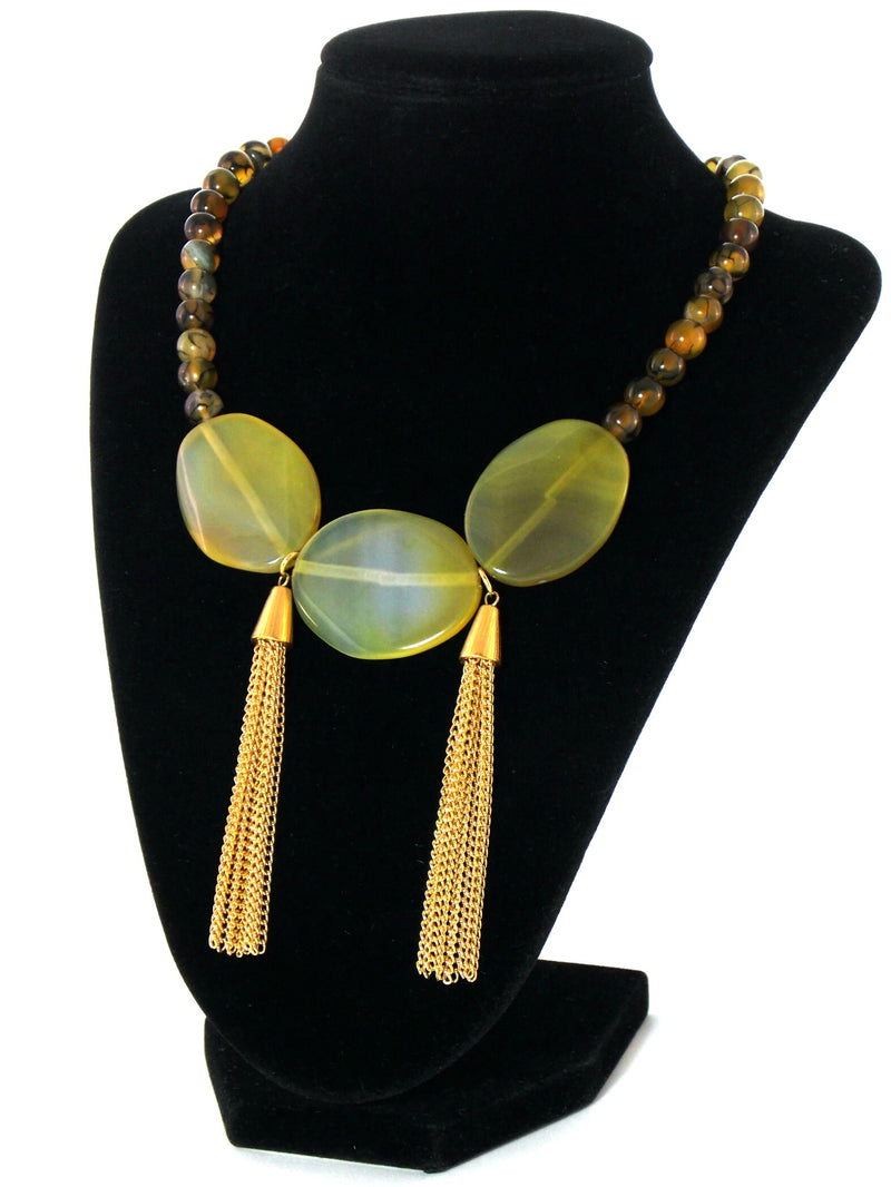 Green Agate Stone Gold Tassel Bib Statement Necklace