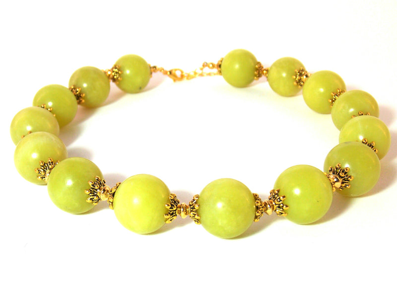 Green Olive Jade Natural Serpentine Stone Gold Plated Bold Chunky Choker Necklace