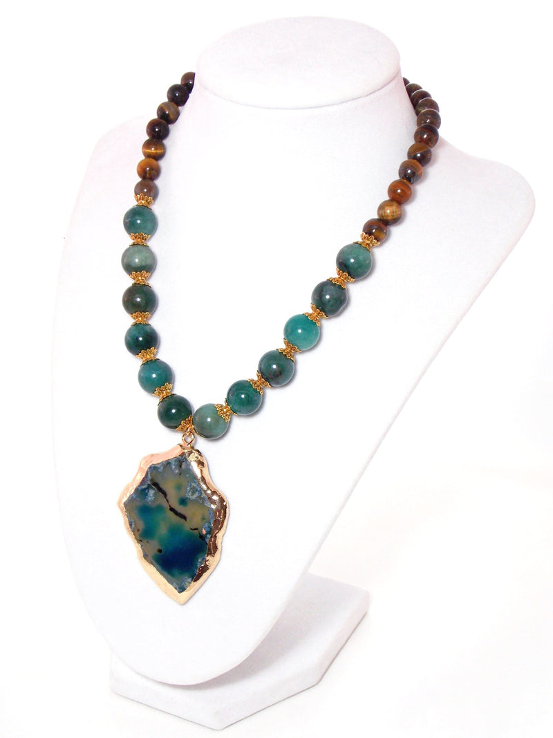 Semi Precious Agate Pendant, Green Aventurine & Tiger's Eye Stone, Gold Plated Statement Necklace