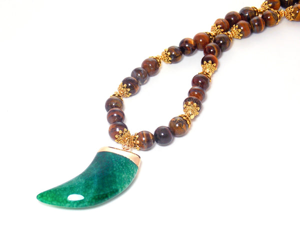 Green Agate Horn Brown Tiger's Eye Stone Gold Plated Pendant Statement Necklace