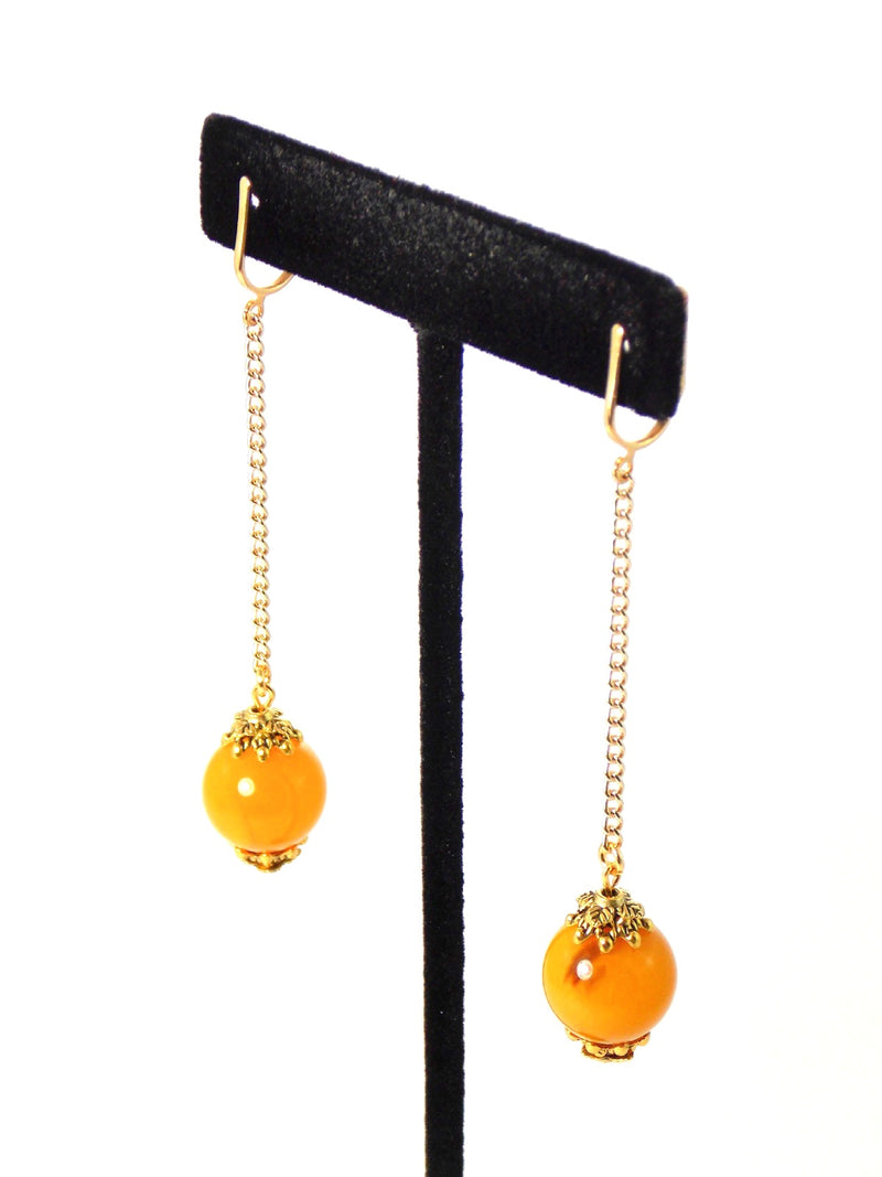 Yellow Ball Drop Long Dangle Gold Chain Statement Earrings Clip On Optional