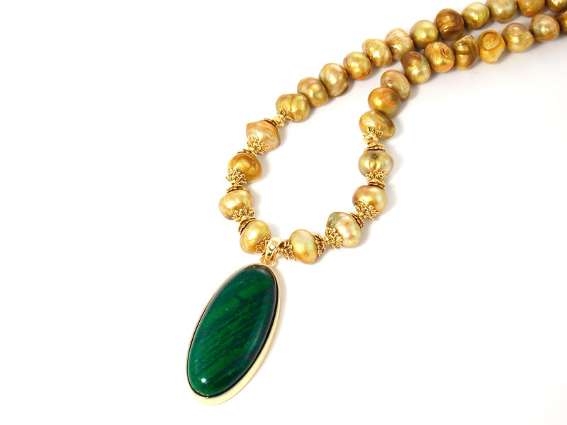 Freshwater Gold Pearl Green Malachite Pendant Statement Necklace