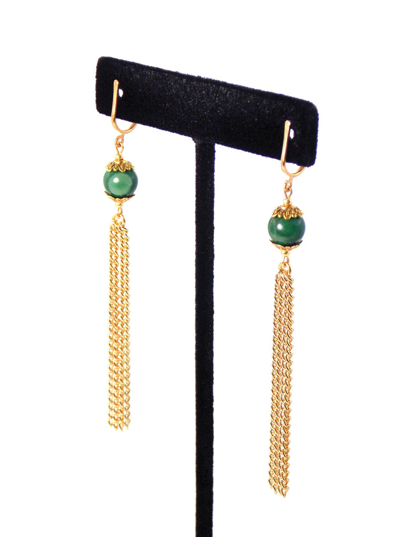 Green Verdite Stone Long Gold Dangle Tassel Chain Earrings Clip On Optional