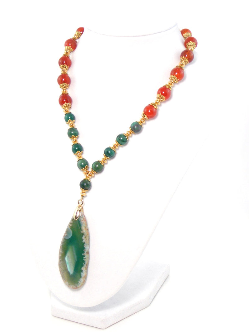 Green & Orange Agate Stone Gold Plated Drop Pendant Statement Necklace