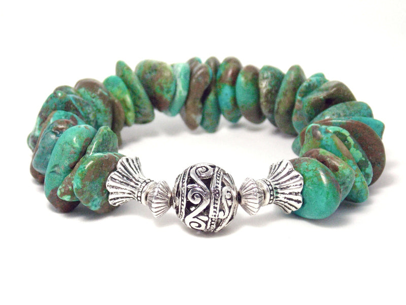 Genuine Green Turquoise Stone Antique Silver Chunky Stretch Statement Bracelet