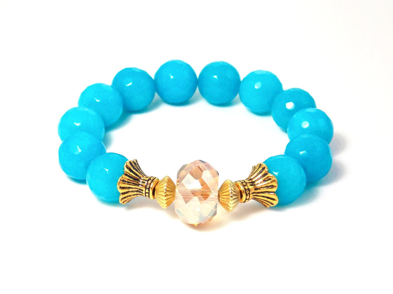 Aqua Blue Stone Quartz Beaded Stretch Statement Bracelet
