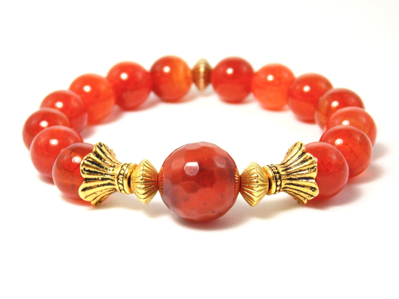 Orange Agate Stone Gold Plated Beaded Stretch Bracelet