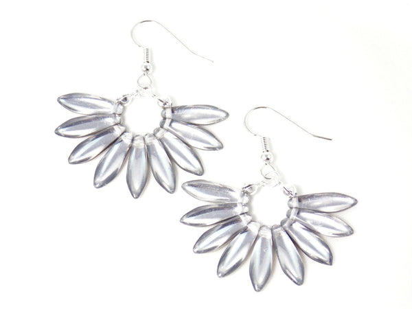 Silver Fan Shaped Statement Earrings Clip On Optional