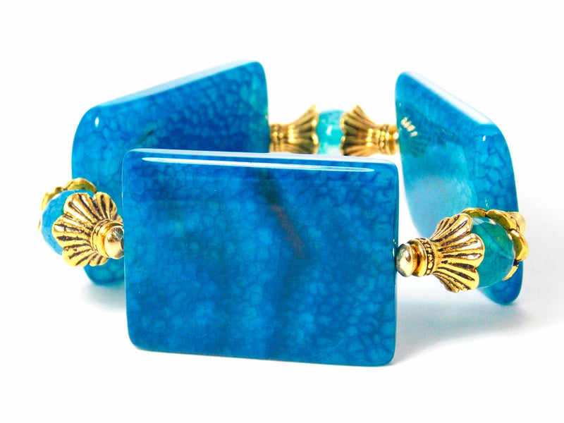 Blue Agate Chunky Stone Gold Plated Statement Bracelet