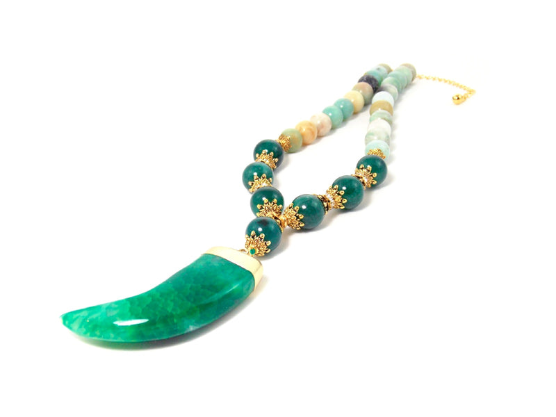 Green Agate Horn Pendant Aventurine & Glass Amazonite Stone Gold Crystal Statement Necklace