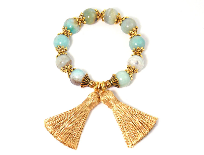 Sea Blue Amazonite Gold Tassel Natural Stone Statement Bracelet