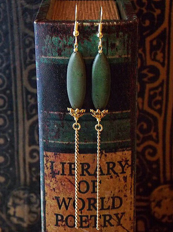 Long Green Dangle Gold Chain Statement Earrings Clip On Optional