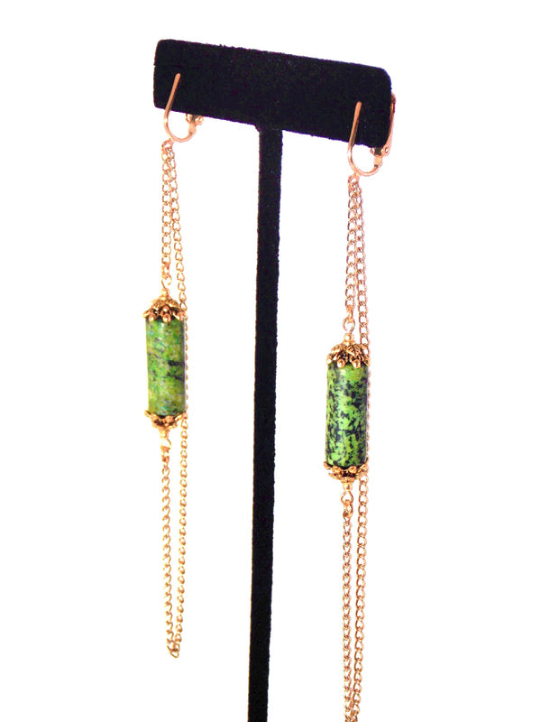 Green Stone Long Gold Dangle Chain Statement Earrings Clip On Optional