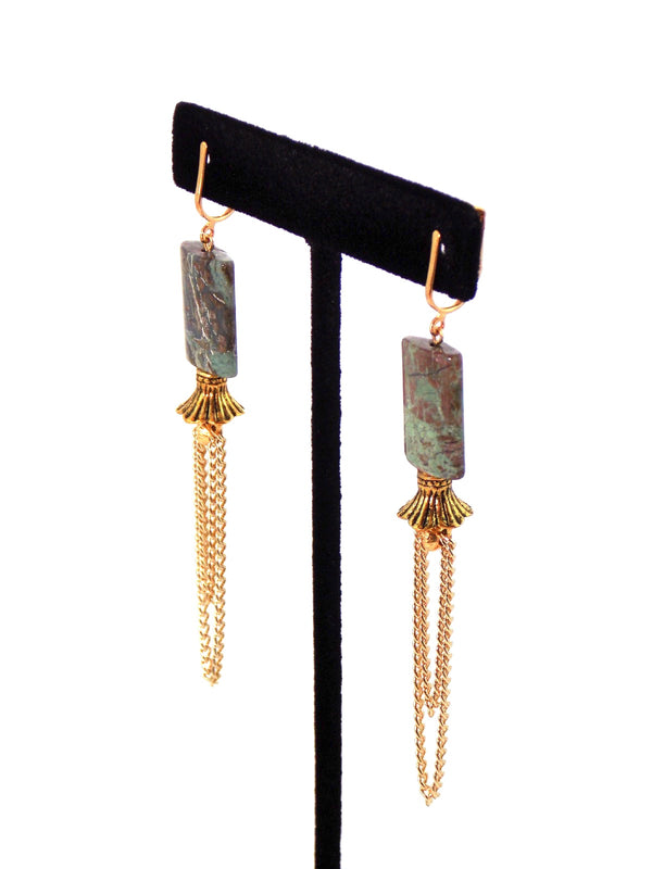 Green Natural Stone Earthy Gold Dangle Statement Earrings Clip On Optional by KMagnifiqueDesigns