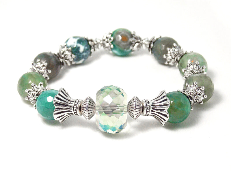 Green Agate Antique Silver Glass Faceted Elegant Stone Bracelet