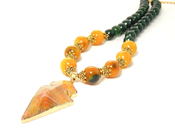Yellow Agate Arrow Pendant Green Jade Stone Gold Plated Beaded Statement Necklace