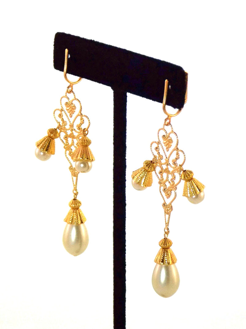 Large Gold Filigree Ivory Pearl Dangle Statement Earrings Clip On Optional