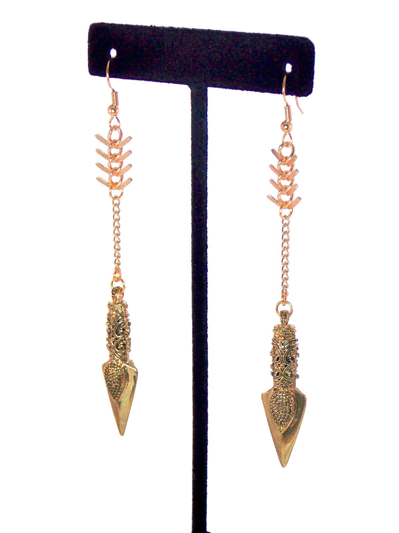 Gold Arrow Long Drop Dangle Statement Earrings