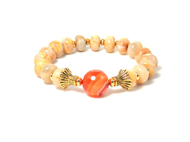 Semi precious Orange & Beige Agate Stone Gold Plated Beaded Stretch Bracelet