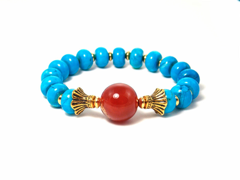 Semi Precious Turquoise Blue Orange Beaded Stone Gold Plated Stretch Bracelet