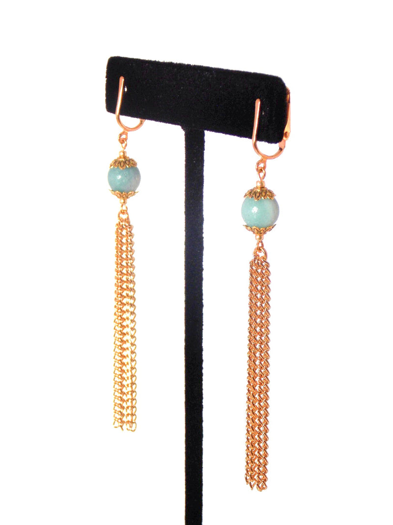 Light Blue Amazonite Gold Dangle Tassel Chain Earrings Clip On Optional