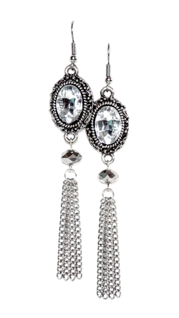 Sterling Silver Plated Crystal Dangle Statement Earrings Clip On Optional