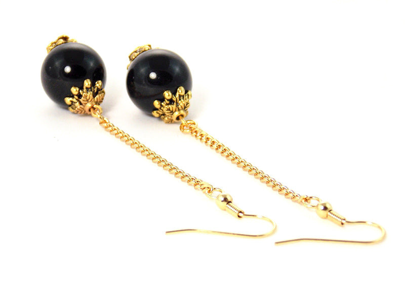 Black Onyx Stone Long Gold Dangle Ball Drop Statement Earrings Clip On Optional