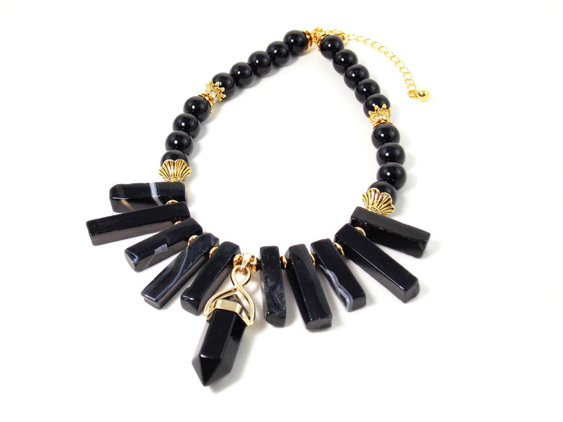 Black Obsidian Pendant And Agate Stone Gold Plated Bib Statement Necklace