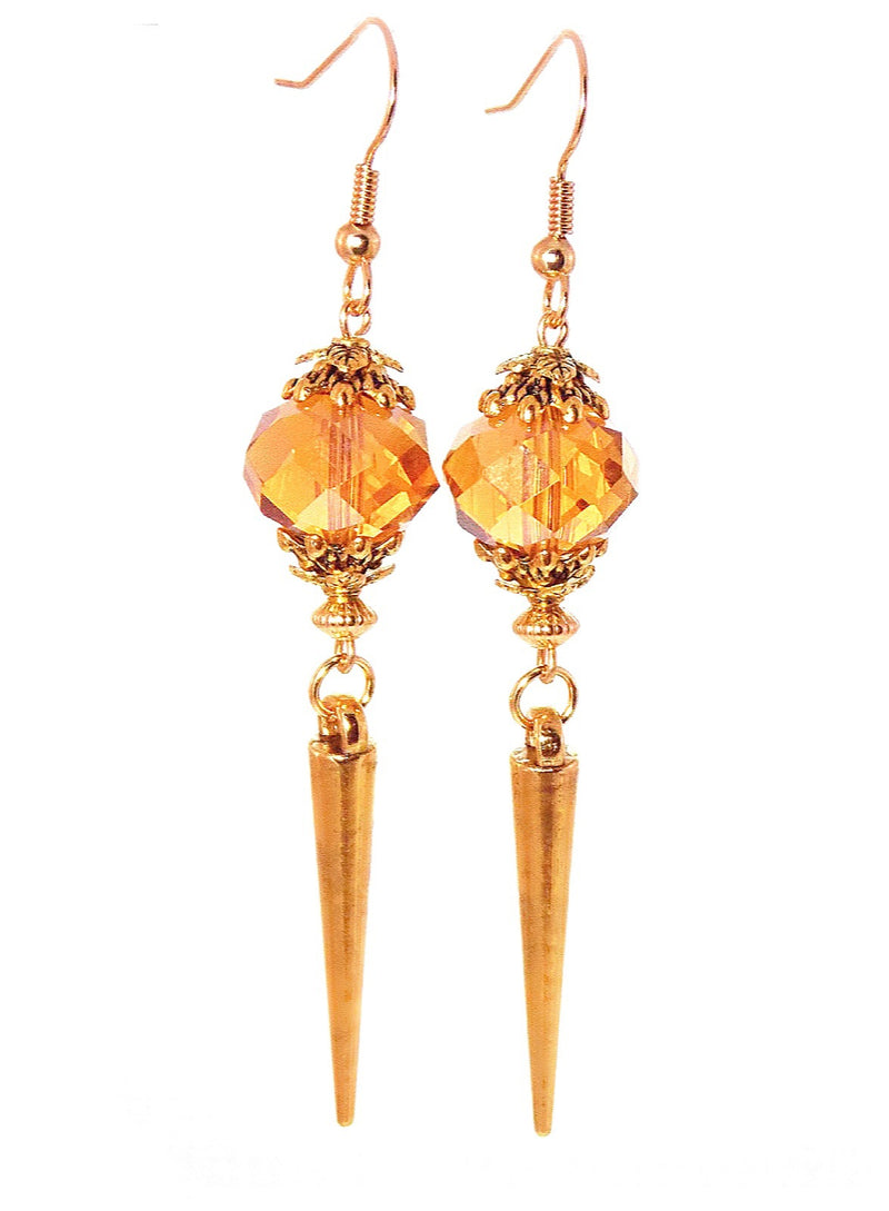 Glass Amber Gold Spike Long Dangle Statement Earrings Clip On Optional