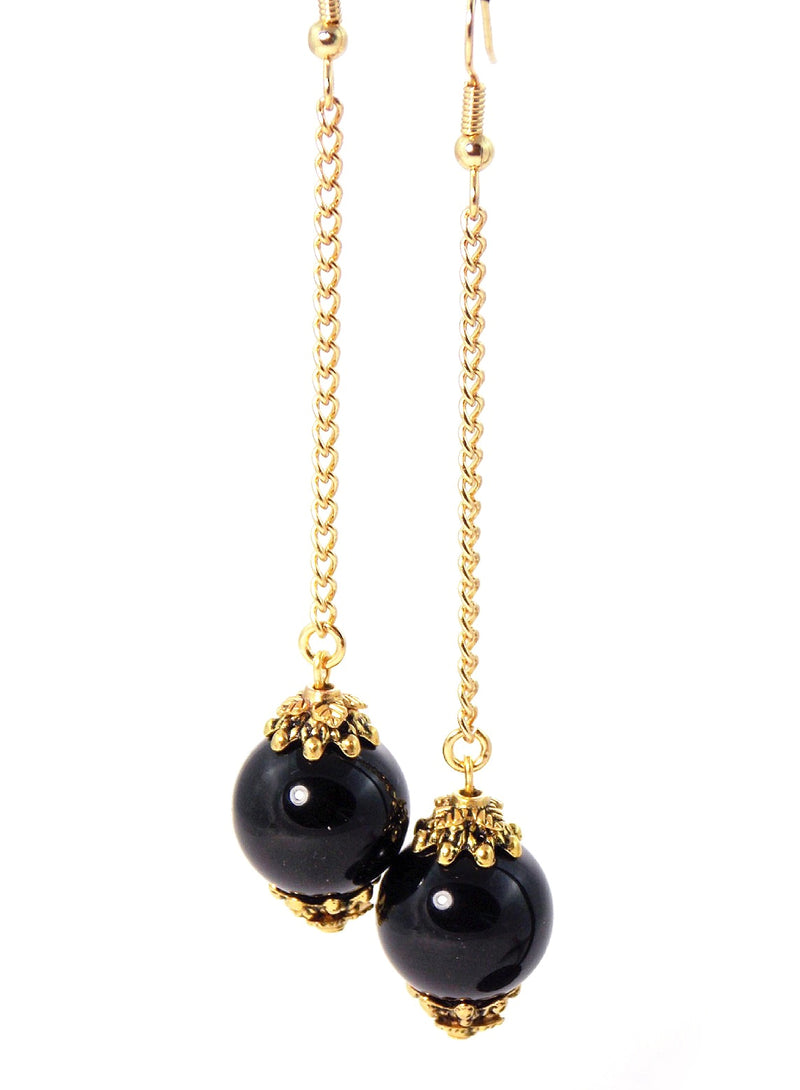 Black Onyx Ball Drop Gold Statement Earrings - KMagnifiqueDesigns