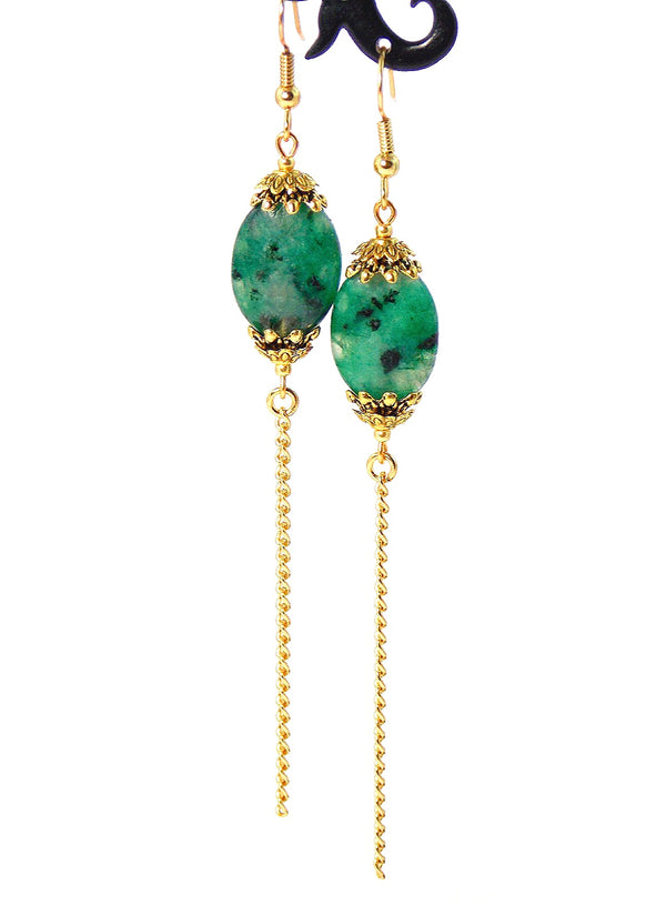 Green Semi Precious Stone Long Gold Dangle Chain Earrings Clip On Optional