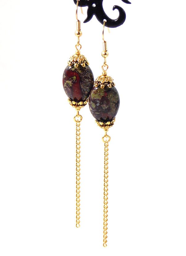 Green Dragon Blood Jasper Stone Long Gold Dangle Chain Earrings Clip On Optional