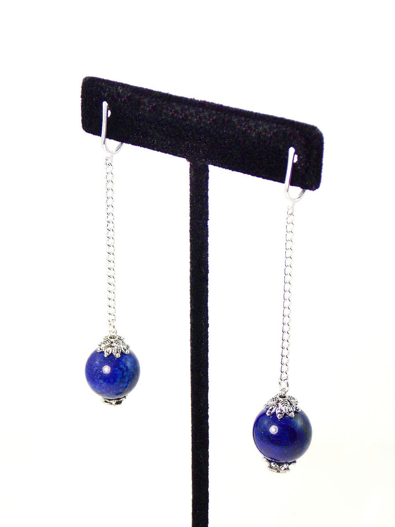 Blue Lapis Lazuli Long Ball Drop Silver Dangle Earrings Clip On Optional
