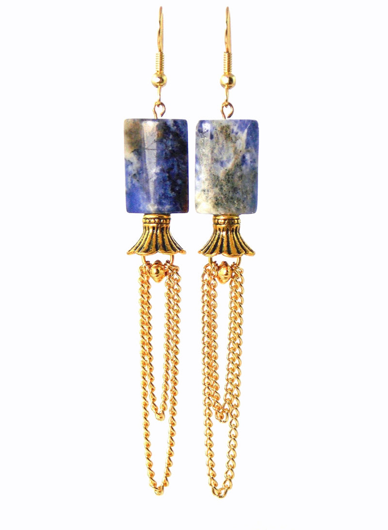 Semi Precious Blue Dangle Stone Gold Plated Statement Earrings Clip On Optional