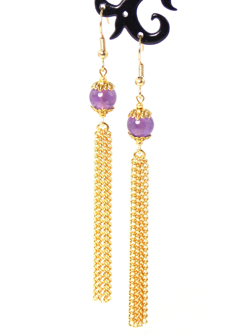 Violet Amethyst Long Gold Dangle Tassel Chain Earrings Clip On Optional