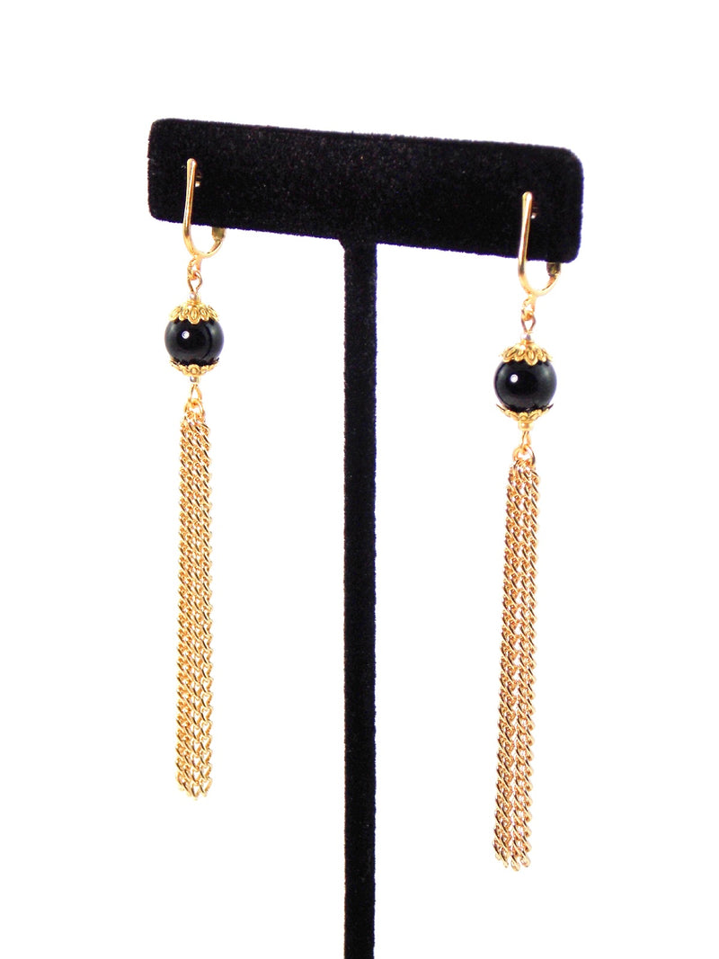 Black Semi Precious Agate Long Gold Tassel Dangle Chain Earrings Clip On Optional