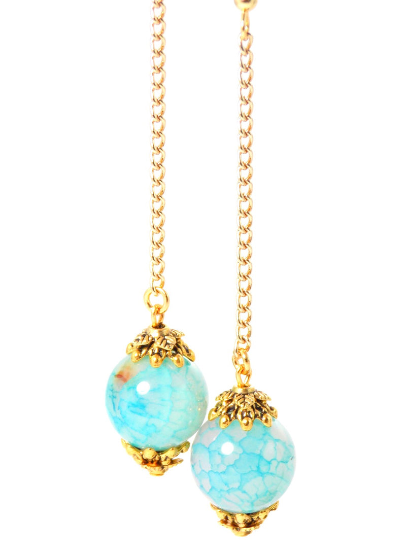 Semi Precious Light Blue Agate Ball Drop Gold Dangle Statement Earrings Clip On Optional