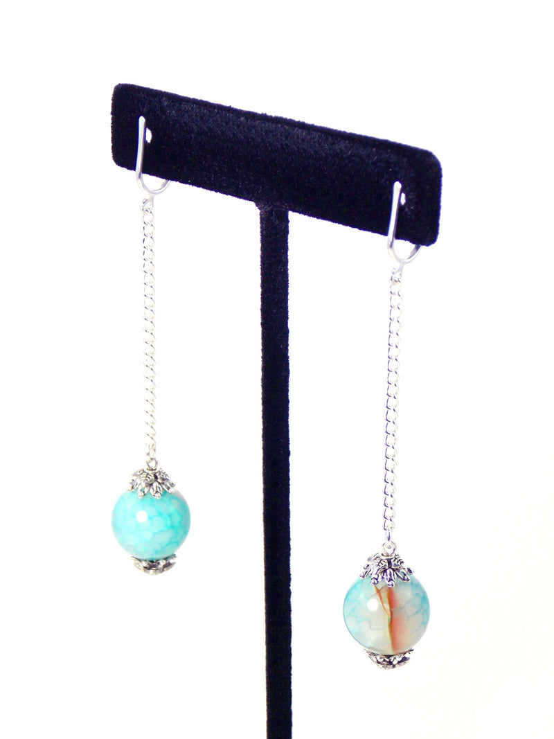 Semi Precious Blue Agate Ball Drop Silver Dangle Statement Earrings Clip On Optional
