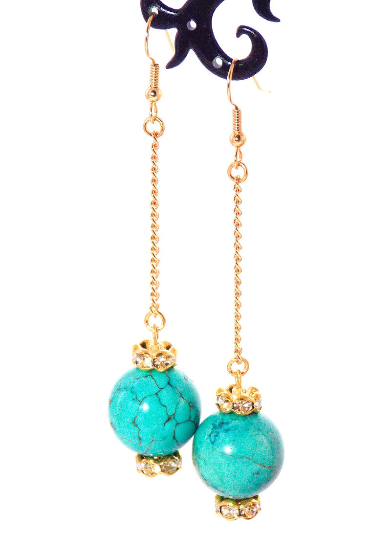 Turquoise Howlite Gold Dangle Ball Drop Crystal Statement Earrings Clip On Optional