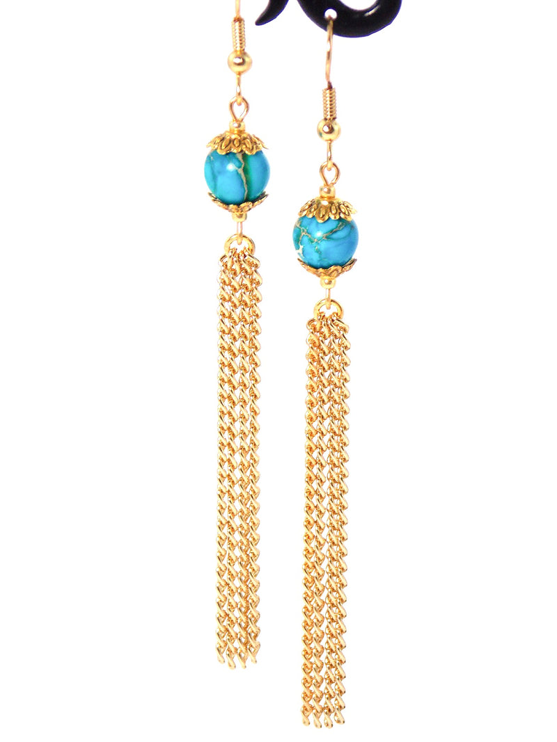 Semi Precious Blue Jasper Long Gold Dangle Tassel Chain Earrings Clip On Optional