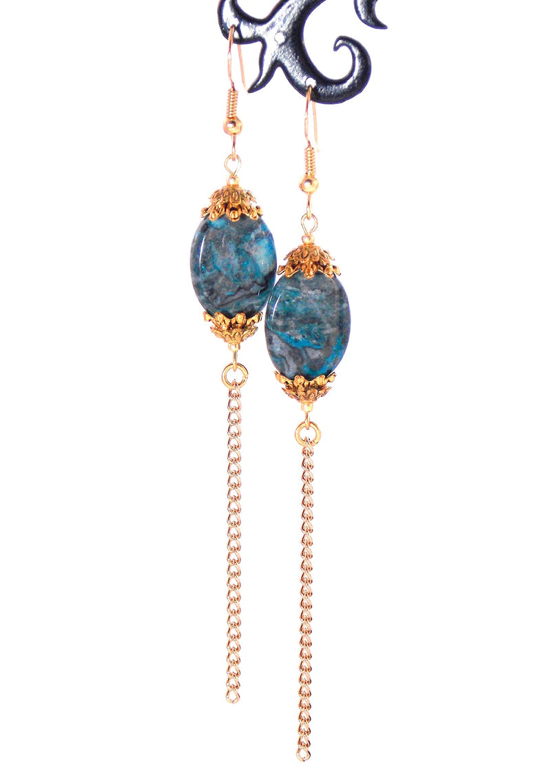 Semi Precious Blue Lace Agate Long Gold Dangle Statement Earrings Clip On Optional