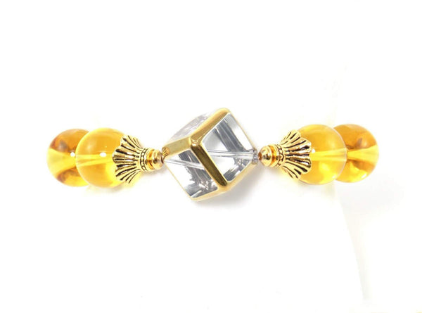 Citrine Stone Gold Plated Glass Cube Statement Bracelet