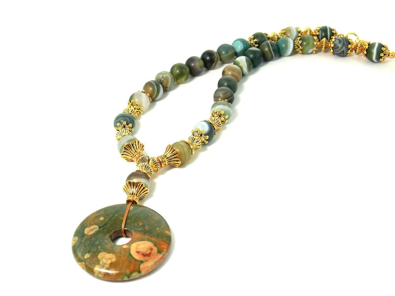 Green Agate & Rhyolite Gold Pendant Statement Necklace