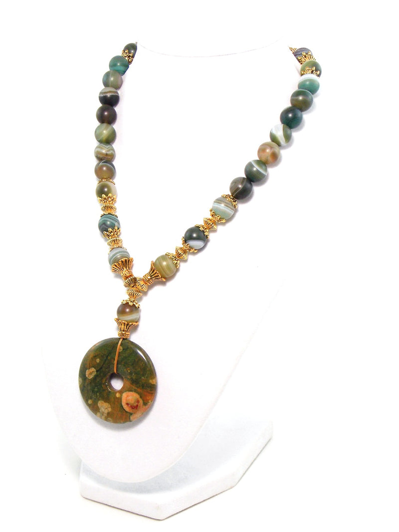 Semi Precious Green Agate Gold Plated Rhyolite Pendant Statement Necklace