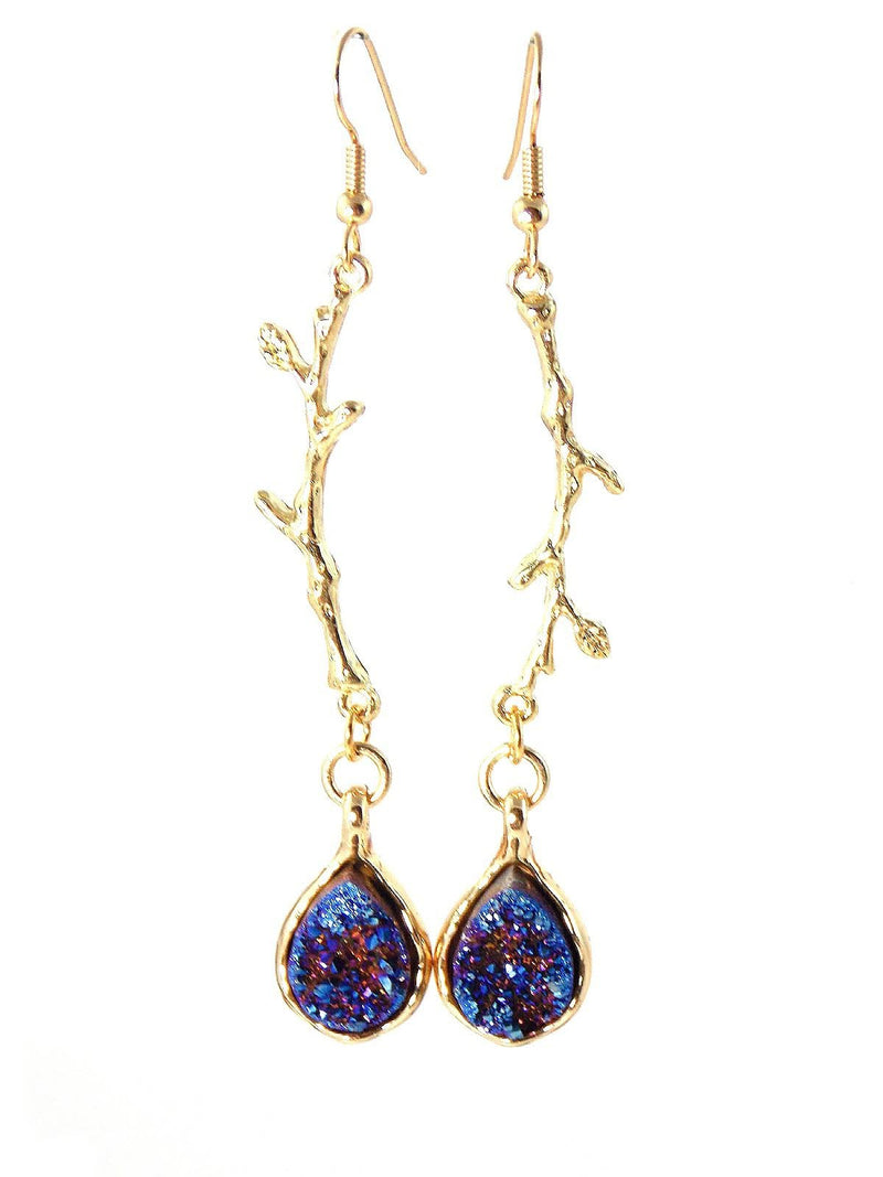 Blue Gold Druzy Crystal Quartz Statement Earrings