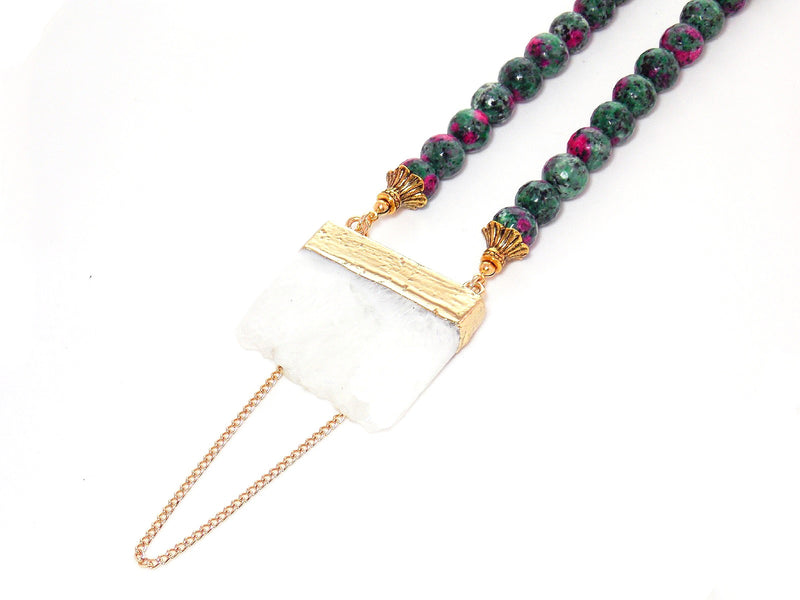 Green Ruby Zoisite, Gold Plated White Quartz, Beaded Gemstone Pendant Necklace