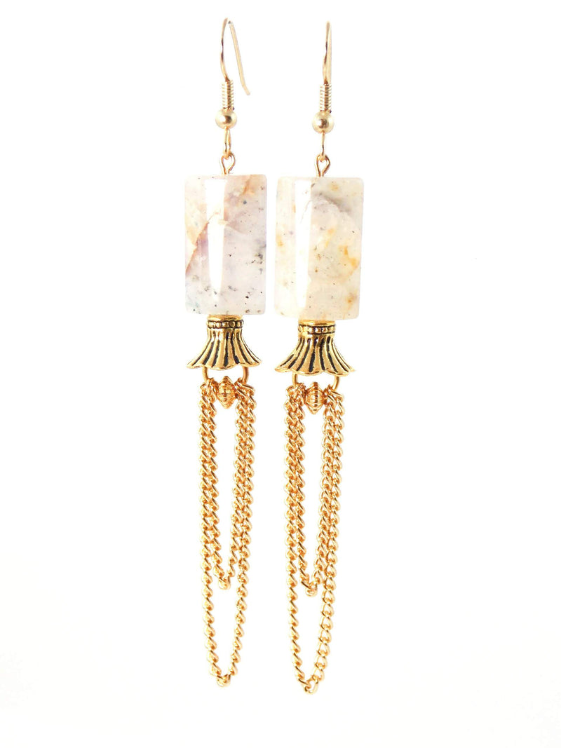Gray Quartz Gold Chain Statement Earrings