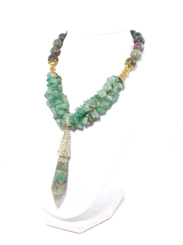 Green And Gold Crystal Pendant Chunky Gemstone Statement Necklace