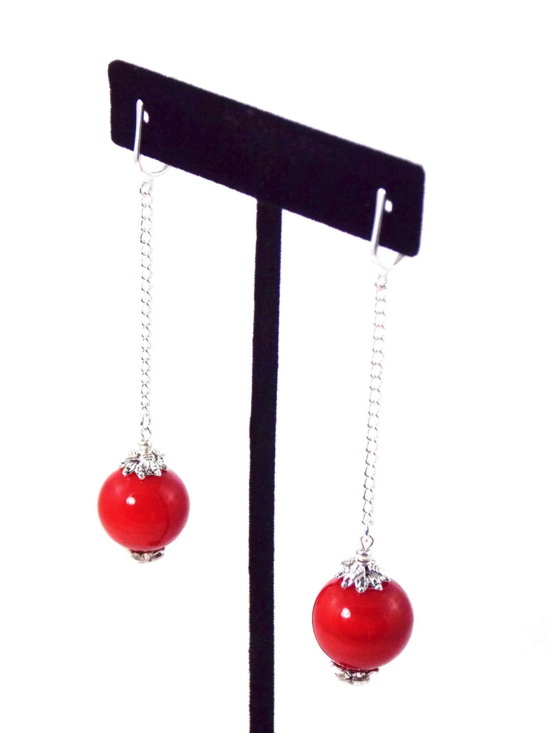 Cherry Red Ball Drop Silver Earrings