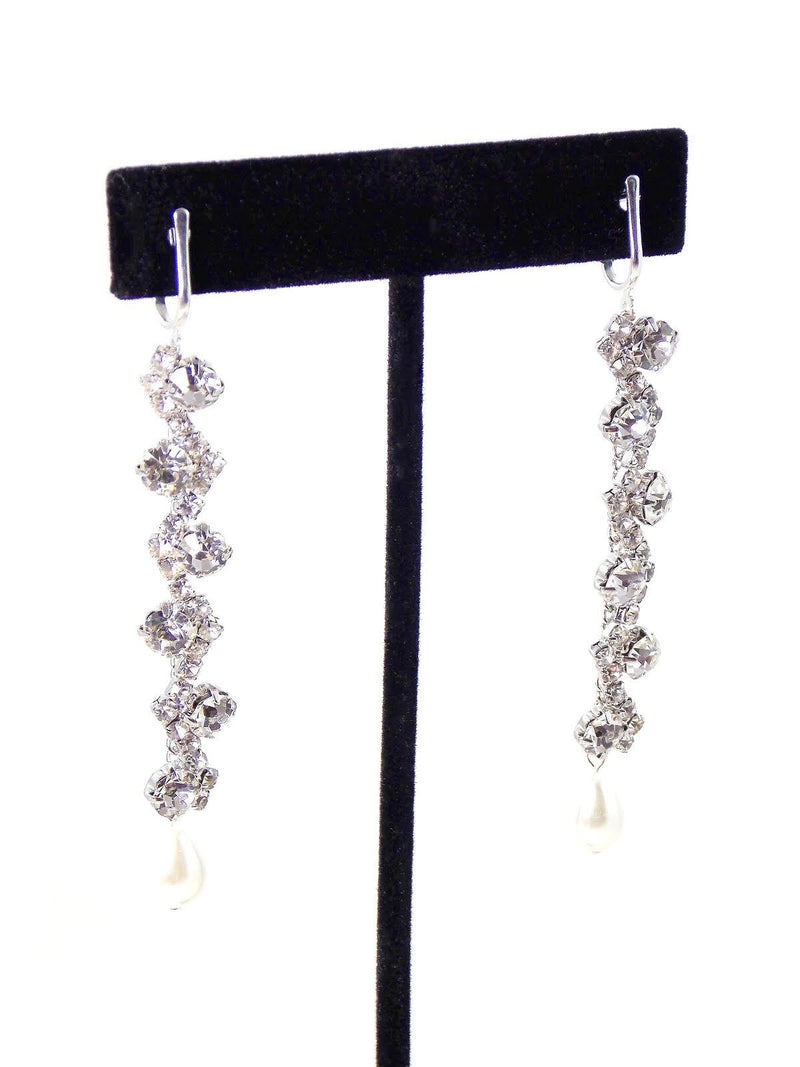 Silver Crystal Pearl Drop Bridal Statement Earrings